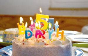 Torte mit brennenden Geburtstagskerzen